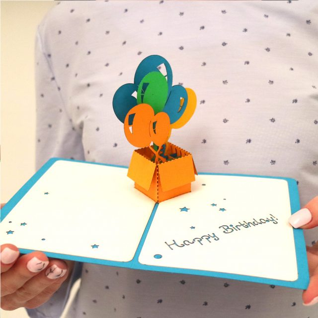 Happy Birthday Greeting Card with 3D Box of Balloons
