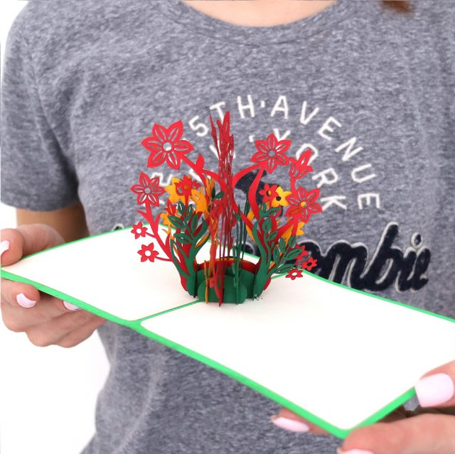 Red flowers 3D Greeting Card