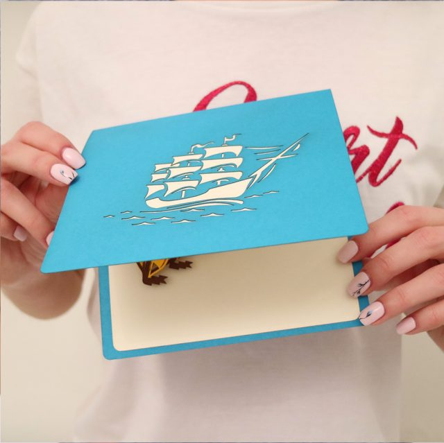 Sail Ship 3D Greeting Card