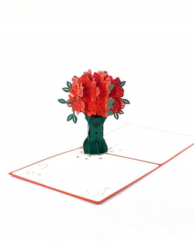 Rosebush Romantic 3D Greeting Card
