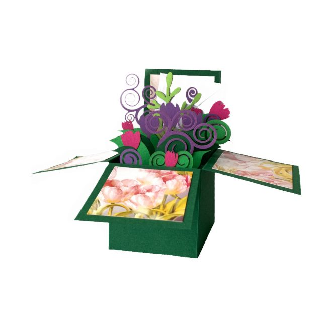 Green Flowers 3D Greeting Box