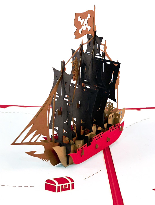 3D Pirate Ship Birthday Card