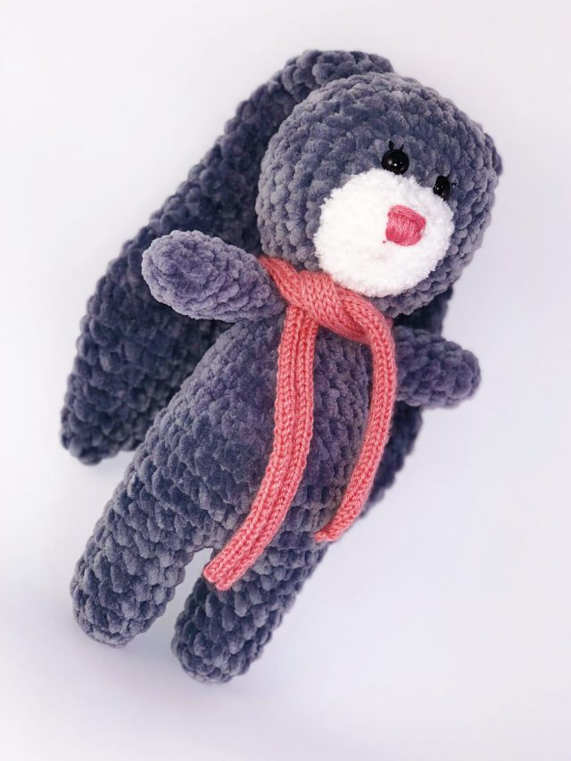 Grey Bunny Knitted Toy