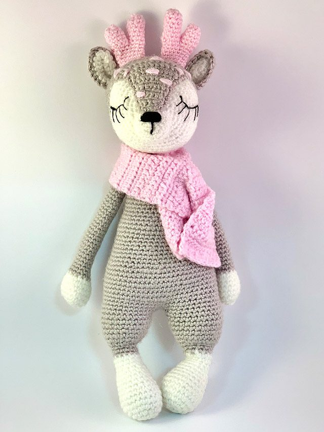 Sleeping Grey Deer Knitted Toy