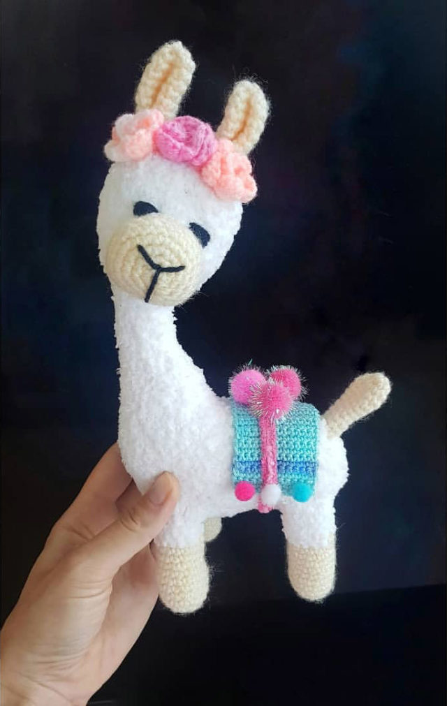 White Llama Knitted Toy