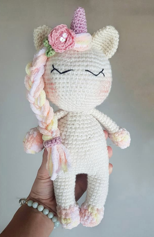 White Unicorn Knitted Toy