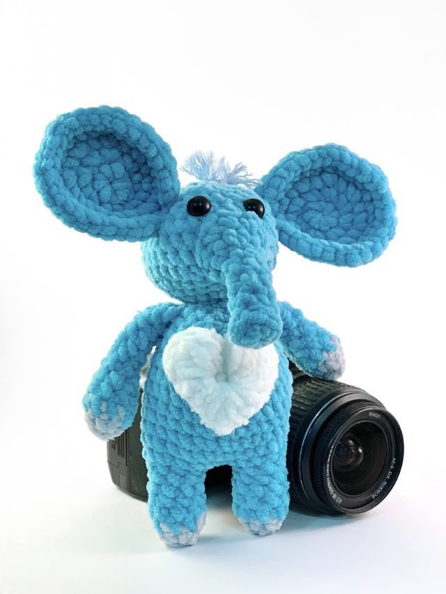 Blue Elephant Knitted Toy