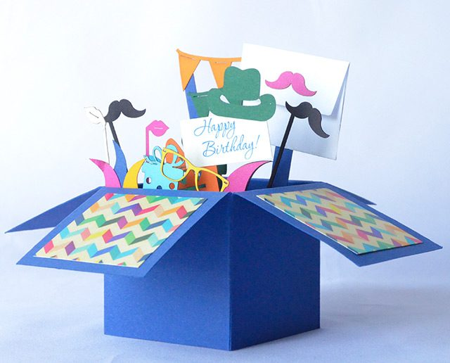 Happy Birthday Blue 3D Greeting Box