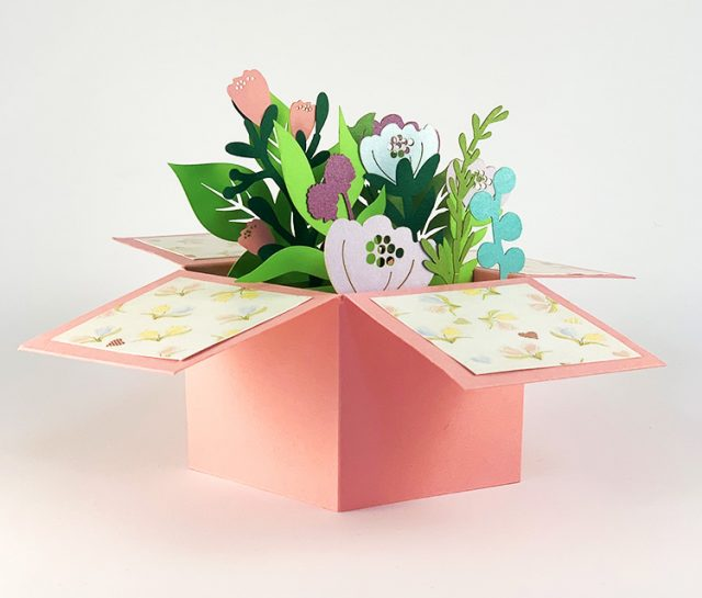 Pink 3D Box with Flowers
