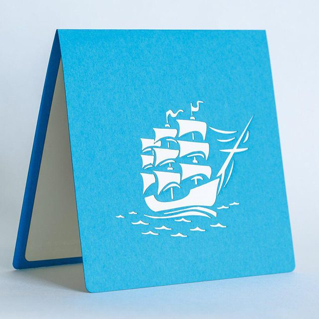 White Ship with Red Sails 3D Greeting Card
