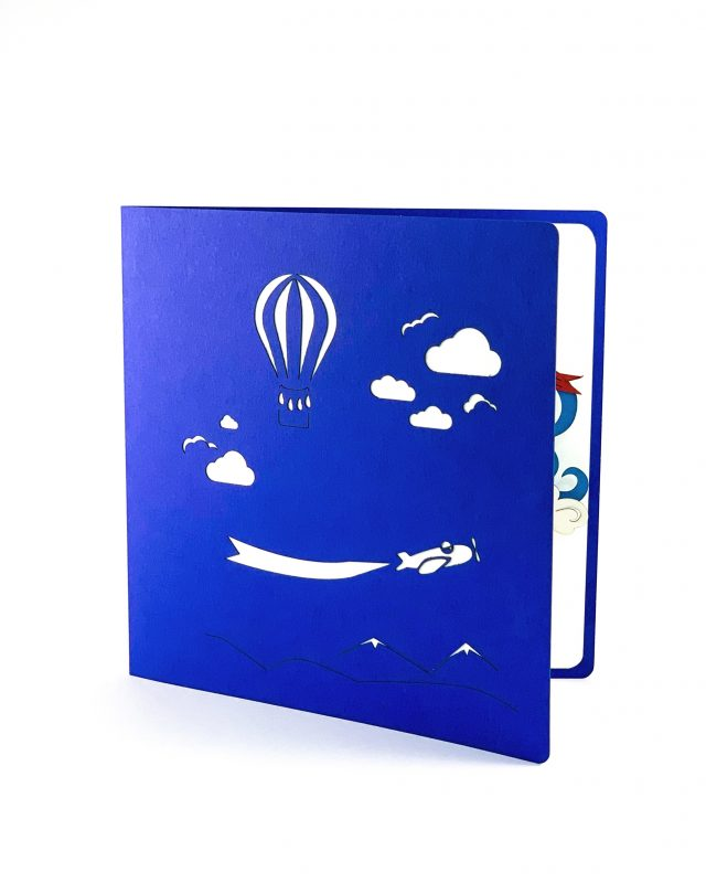 Large 3D Greeting Card with Clouds and Balloons