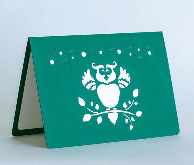 Happy Birthday Greeting Card with 3D Owl