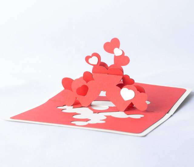 Small Red Romantic Greeting Card with Hearts