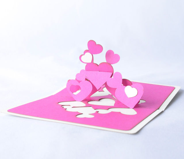 Small Pink Romantic Greeting Card with Hearts