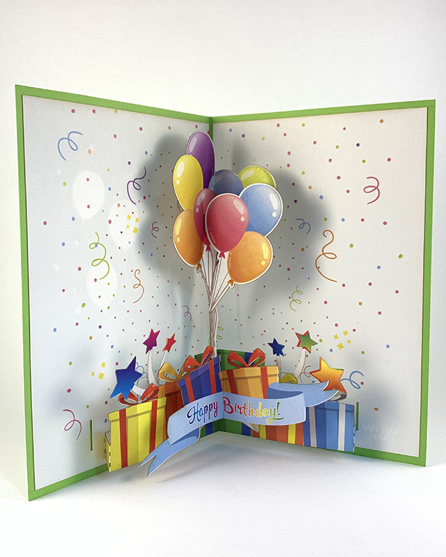 Happy Birthday Greeting Card with 3D Balloons