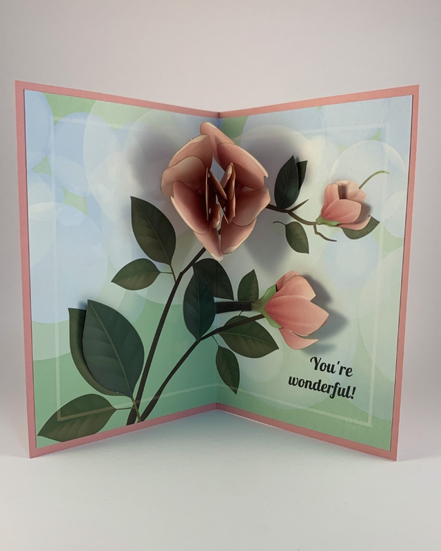 """Pink Flowers Greeting Card with """"You're Wonderful"""" Message"""